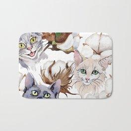 Cotton Flower & Cat Pattern 01 Bath Mat