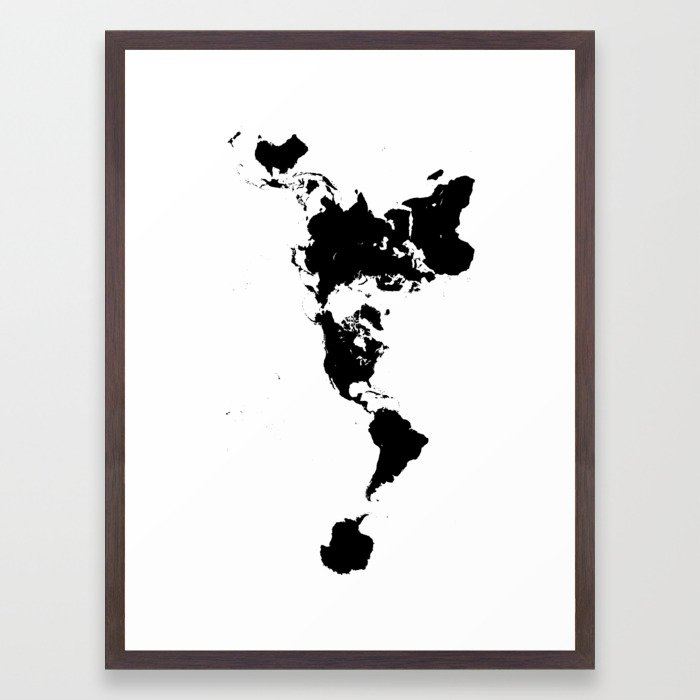 Black And White World Map Framed.Dymaxion World Map Fuller Projection Map Minimalist Black On