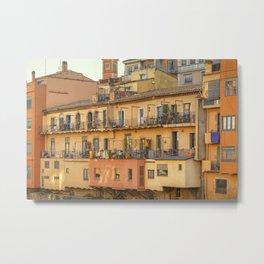 Balconies in Girona, Cataluna, Spain Metal Print