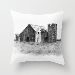 Pencil Art, Old Wooden Barn and Wooden Silo, Country Scene Throw Pillow