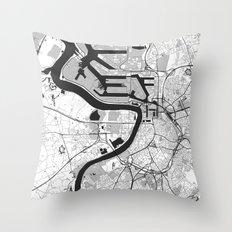 Antwerp Map Gray Throw Pillow