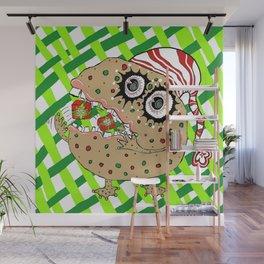 Christmas Fruitcake Monster, green lattice background Wall Mural