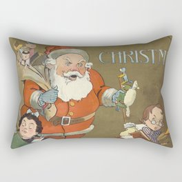 Vintage Frustrated Santa Claus Illustration (1901) Rectangular Pillow