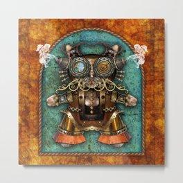 Cacotopia Steampunk Kitty - brass Metal Print