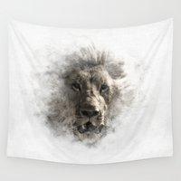 lion king Wall Tapestries featuring Lion  by Christophe Chiozzi