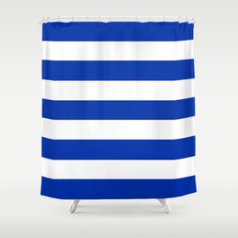 International Klein Blue - solid color - white stripes pattern Shower Curtain