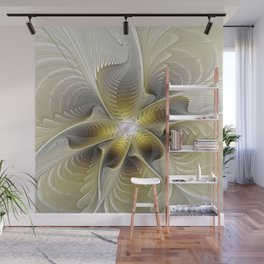 Gold And Silver, Abstract Flower Fractal Wall Mural