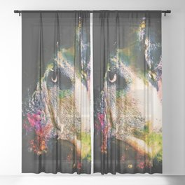 english bulldog dog splatter watercolor Sheer Curtain
