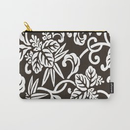 Espresso Brown Japanese Leaf Pattern Carry-All Pouch