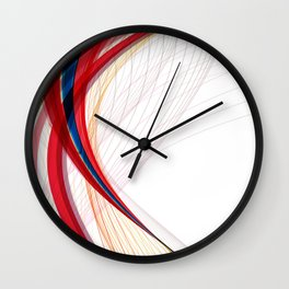 RED, BLUE AND GREEN CURVED LINES Abstract Art Wall Clock