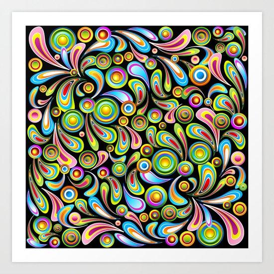 Psychedelic Color Drops Abstract Art Design Art Print