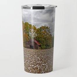 Old Barn in a Cotton Field - Wide Angle Travel Mug