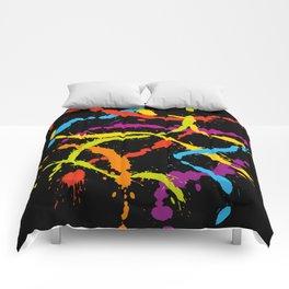 Splattered Rainbow [BLACK] Comforters
