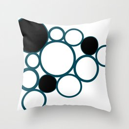 black and green circles Throw Pillow