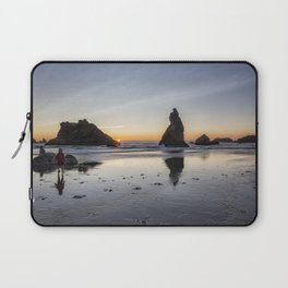 Children Playing at Sunset on Bandon Beach Laptop Sleeve