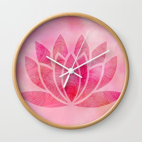 Zen Watercolor Lotus Flower Yoga Symbol Wall Clock By Ruthart Society6