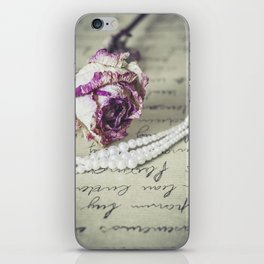 love letter with pearls and rose iPhone Skin