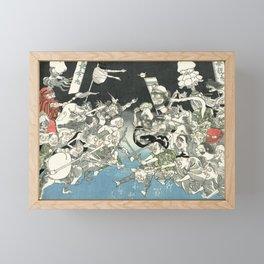 Demons - Vintage Japanese Woodblock Print Framed Mini Art Print