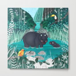Pygmy Hippos in the Jungle Metal Print