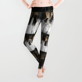 Piano keys and Notes - Watercolor and gold Leggings
