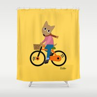 cycling Shower Curtains featuring Sam's Cycling by BATKEI