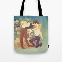 grantaire Tote Bags featuring Happiness by Marta Milczarek