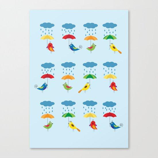 Birds with umbrellas Canvas Print