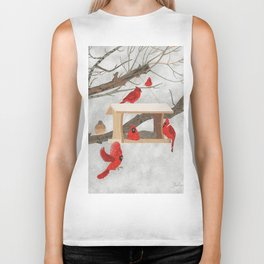 Cardinals at bird feeder Biker Tank