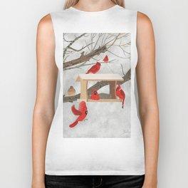 Cardinals at bird feeder Biker Tank