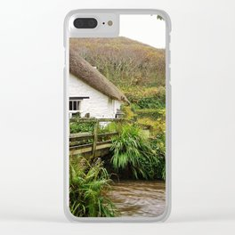 THATCHED COTTAGE BY RIVER CROSSING CORNWALL Clear iPhone Case