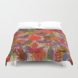 Fall Leaves and Splatters Duvet Cover