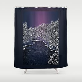 Winter river in Lapland Finland  Shower Curtain