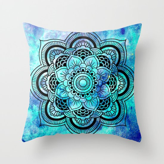 galaxy mandala aqua indigo throw pillow by 2sweet4words designs society6. Black Bedroom Furniture Sets. Home Design Ideas