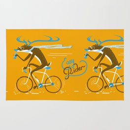 Easy Rider // (cycling hipster deer) Rug
