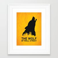 wolf of wall street Framed Art Prints featuring The Wolf of Wall Street by Nick Kemp