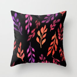 180726 Abstract Leaves Botanical Dark Mode 19|Botanical Illustrations Throw Pillow