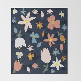 Blooming in the Navy (Handmade Floral Pattern) Throw Blanket