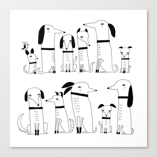ELEVEN DOGS ONE BIRD Canvas Print