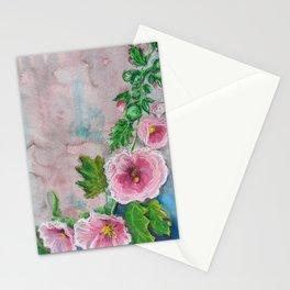 Delicate Frilly Hollyhocks Stationery Cards