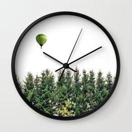 Float Away - Hot Air Balloon Forest Photograph Wall Clock