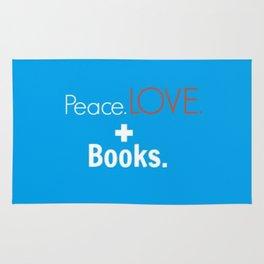 Peace. Love. + Books in Blue Rug