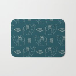 Linocut Camels No. 1 in Teal Bath Mat