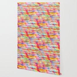 Light Rainbow Tie Dye Stripes Wallpaper