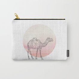Geometric Camel In Thin Stipes On Circle Background Carry-All Pouch