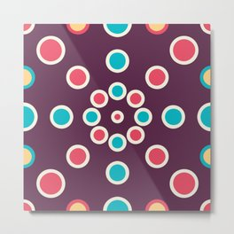 Boho Circle Designs In Purple Metal Print