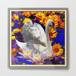 WHITE SWAN YELLOW-BLUE FLOWERS  MODERN ART Metal Print