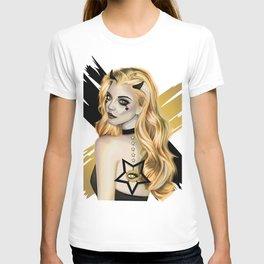 Golden Devil - Devil girl stylized vector portrait T-shirt