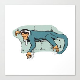 Sleeping Monkey On Couch Sleepy Animal Cute Couch Potato Canvas Print