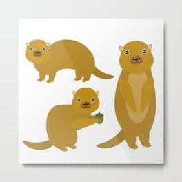 Set of funny Gopher ground squirrel with acorn on white background. Vector illustration Metal Print