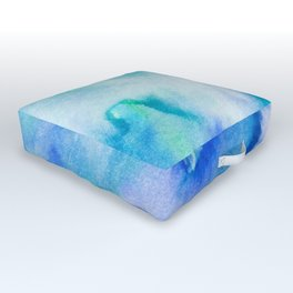 Watercolor texture - blue and turquoise Outdoor Floor Cushion